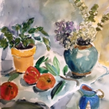 0Flowers and Fruit 24 x 18 watercolor